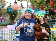 We Caught Marci and Jessica in Front of the Mad Tea Party, Sporting Commemorative T-shirts from Both One More Disney Day and the Monstrous Summer All-Nighter.<br />