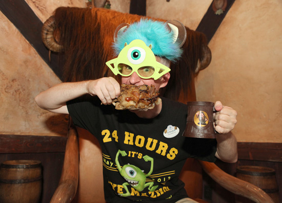 Disney Parks Blog Author Steven Miller Enjoys a Pork Shank at Gaston's Tavern in New Fantasyland