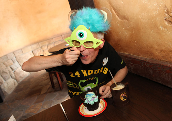 Disney Parks Blog Author Steven Miller Enjoys a Monstrous Cupcake at Gaston's Tavern in New Fantasyland