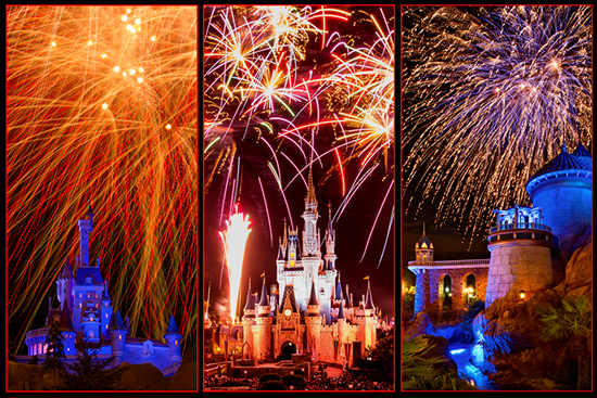 A Fireworks First: Fourth of July Fireworks Over Three Disney Castles