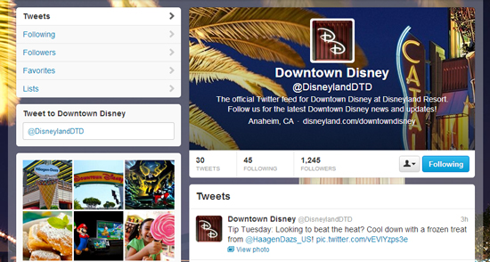 Follow Downtown Disney District on Twitter for Latest Updates