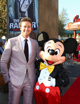 Armie Hammer and Mickey Mouse at Disney California Adventure Park for World Premiere of Disney/Jerry Bruckheimer Films' 'The Lone Ranger'