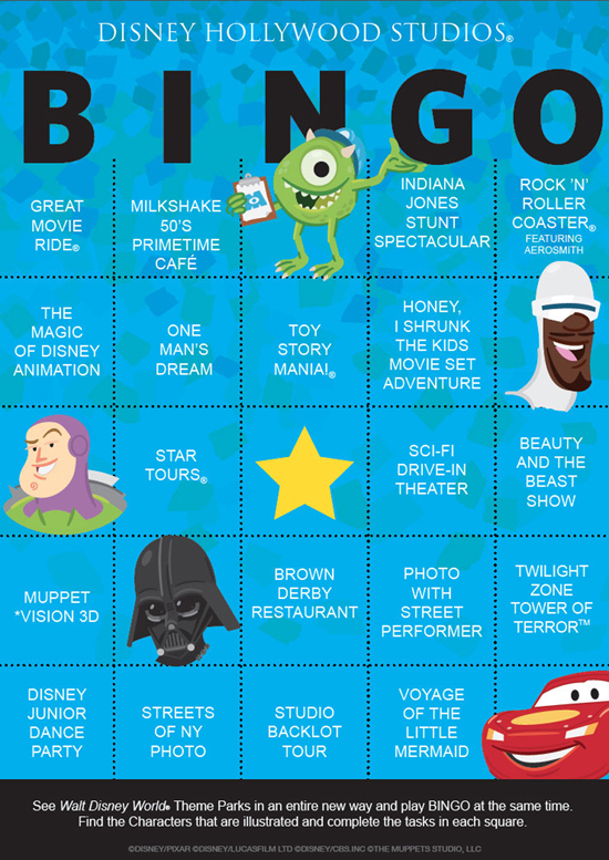 Download and Play Disney's Hollywood Studios BINGO On Your Next Trip to Walt Disney World Resort
