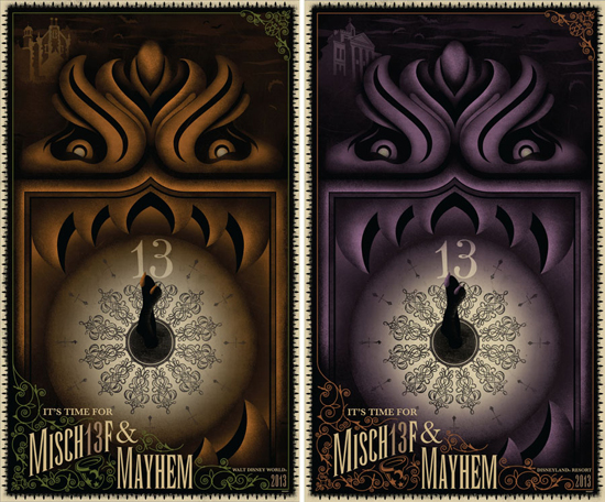 The 2013 Poster for September from Disney Design Group Features the Grandfather Clock from The Haunted Mansion
