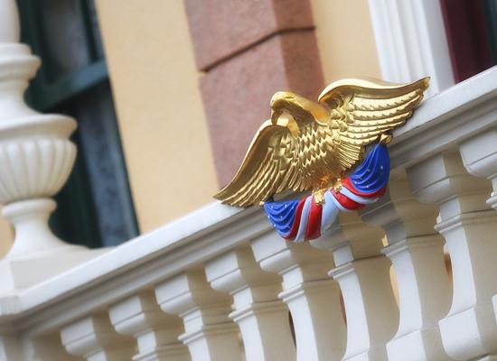 Golden Eagle Perched High Atop Main Street, U.S.A., at Disneyland Park
