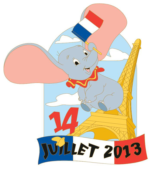 Limited Edition 600 Pin Featuring Dumbo in Celebration of Bastille Day at Disneyland Paris