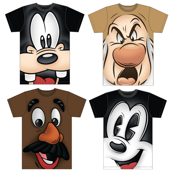 Get Up Close and Personal With New Characters Shirts Coming to Disney Parks, Including Four Shirts for Adults Including Goofy, Mr. Potato Head, Grumpy and a Pie-eyed Mickey Mouse
