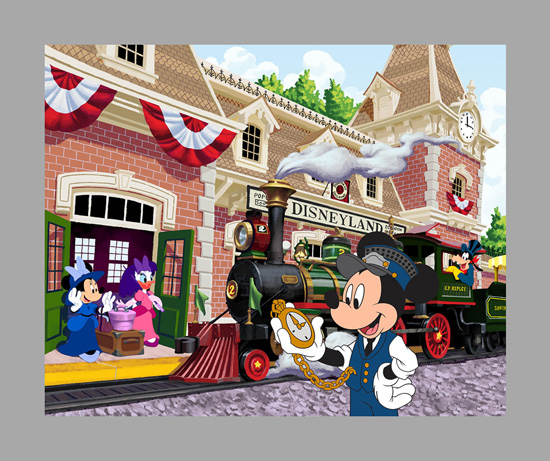 'Right on Time' Hand-Painted Main Street Train Station-Inspired Cel Featuring Conductor Mickey, Minnie Mouse, Daisy Duck and Goofy Debuting July 20 at Disneyland Park