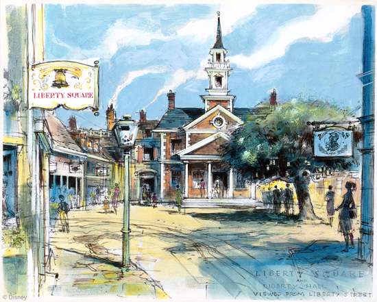 Rendering of Liberty Square at Disneyland Park, Courtesy of the Walt Disney Imagineering Art Library