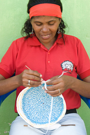 Credit: Hoffner; Proyecto Titi has Taught Women to Crochet Using Plastic Bags Which Help Communities in Columbia Protect Forests that the Cotton-Top Tamarins Call Home