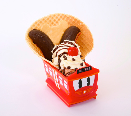 Oswald Ice Cream Sundae in a Souvenir Red Car Trolley Cup from Clarabelle's Hand-Scooped Ice Cream at Disney California Adventure Park