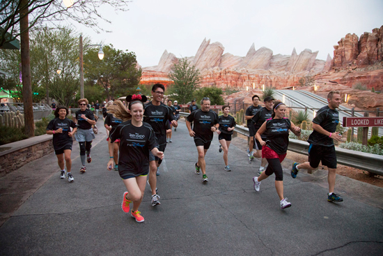 D23 Members Run Through Cars Land at Disney California Adventure Park; Photo Credit: Scott Brinegar