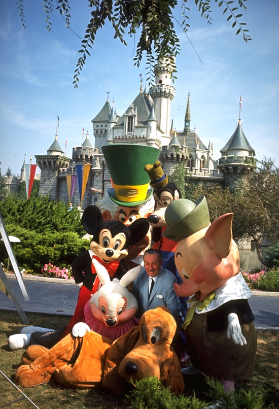 Walt Disney at Sleeping Beauty Castle at Disneyland Park in 1965