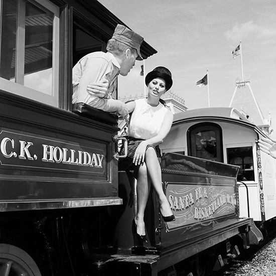 Sophia Loren on the Disneyland Railroad Aboard the C.K. Holliday