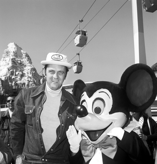 Bob Newhart and Mickey Mouse at Disneyland Resort in 1974