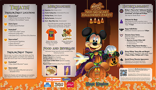 Mickey's Not-So-Scary Halloween Party Park Map for September 20, 27 and 29th