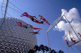 Trapeze Troupe at Epcot's Daredevil Circus Spectacular in 1987