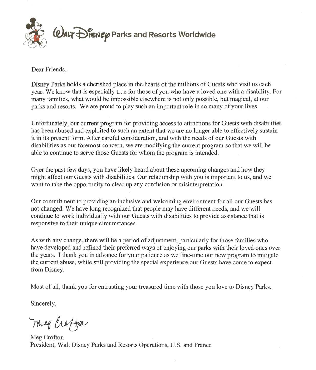 Letter from Meg Crofton, President, Walt Disney Parks and Resorts Operations