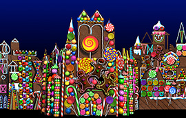 Gingerbread House Projection at 'it's a small world' Holiday