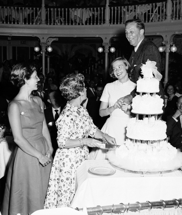 Walt and Lillian Disney with Their Daughters at The Golden Horseshoe at Disneyland Park