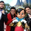Italian Vocal Trio Il Volo Pose With Pinocchio During A Break In The Taping Schedule