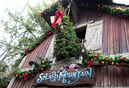 A Precarious Christmas Tree at Splash Mountain at Disneyland Park
