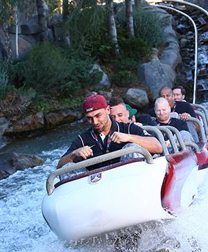 Stanford Cardinal Players Ride the Matterhorn Bobsleds at Disneyland Park
