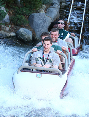 Michigan State Spartans Ride the Matterhorn Bobsleds at Disneyland Park