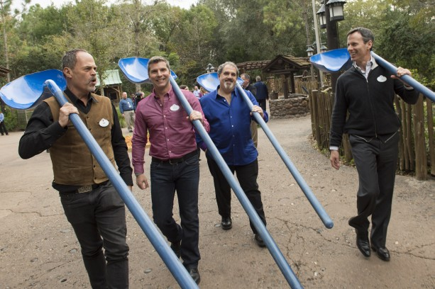 Using Na'vi-inspired shovels (left to right) Joe Rohde, creative executive,   Walt Disney Imagineering; Bruce Vaughn, chief creative executive of Walt Disney Imagineering;   Jon Landau, AVATAR producer and Tom Staggs, chairman, Walt Disney Parks and Resorts   celebrated the ceremonial groundbreaking for the largest expansion in Disney's Animal   Kingdom history.