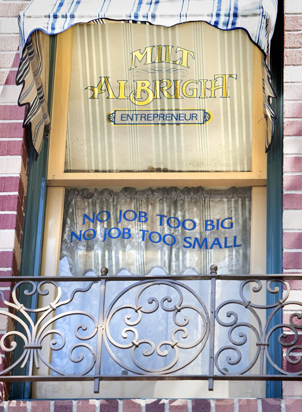 Windows on Main Street, U.S.A., at Disneyland Park: Milt Albright