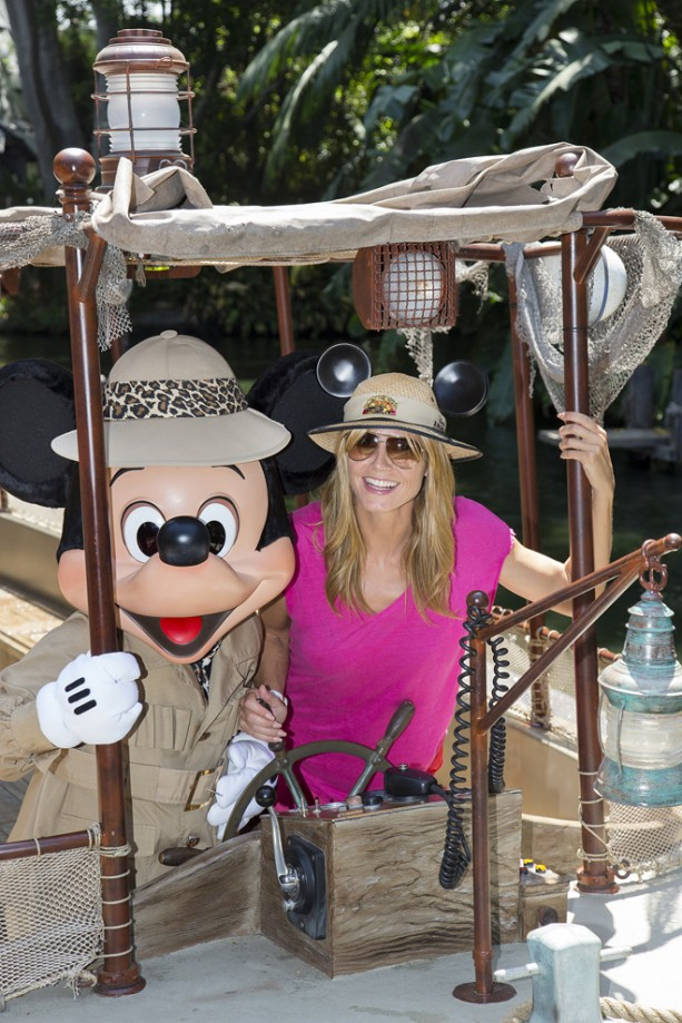 Heidi Klum Meets Mickey Mouse Aboard Jungle Cruise at Disneyland Park