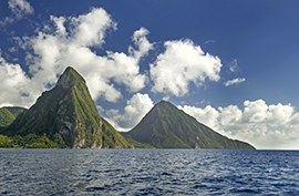 The Pitons (Gros Piton, right, and Petite Piton) Soufriere, St. Lucia