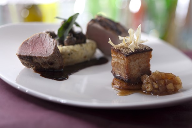 Pork two ways (wood fire tenderloin w goat chesse polenta_ braised lacquered belly and country applesauce
