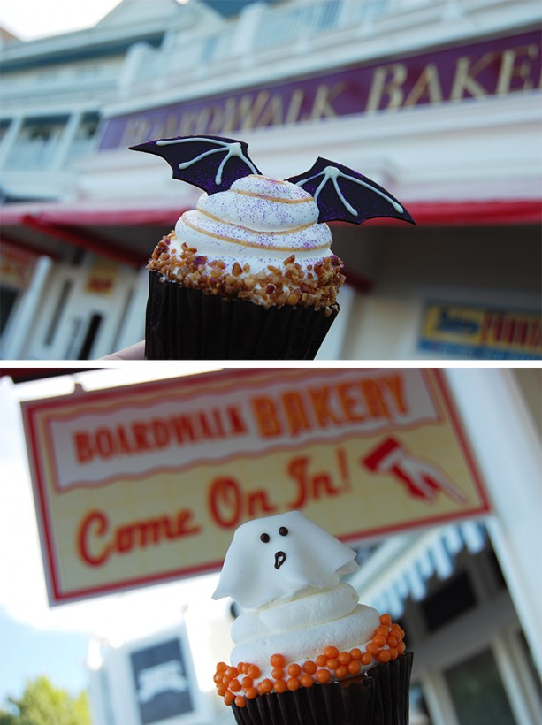 Bat and ghost cupcakes from Boardwalk Bakery