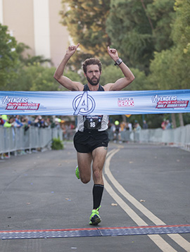 William Prom from Irvine, Calif., Overall Avengers Super Heroes Half Marathon Winner