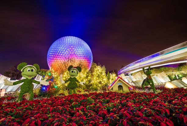 Christmas Topiaries at Spaceship Earth in Epcot