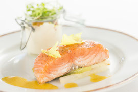 Grilled Salmon with Smoked Salmon Cream Dish from the Petites Assiettes de Remy Experience