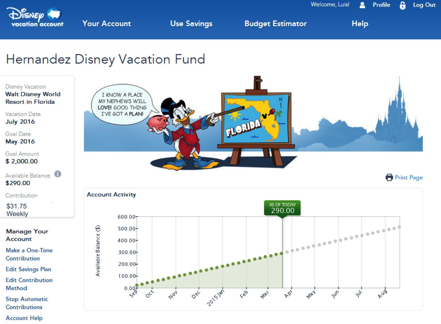 Disney Savings Account Travel Agent