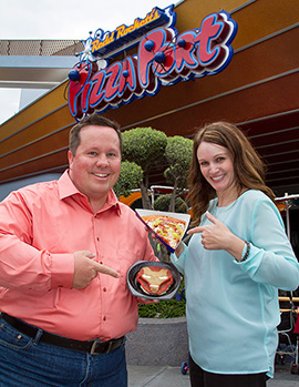 Michelle and Shawn with the Supernova Pizza Special and Mark V Dessert Waffle From Red Rockett's Pizza Port