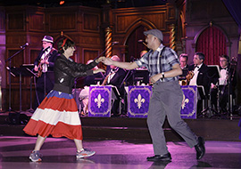 Guests Dancing to the Music of Swingtown at the Royal Swing Big Band Ball at Disneyland Resort