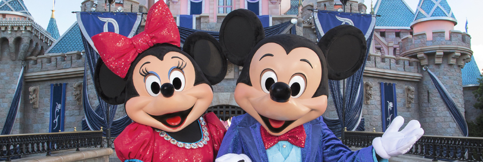 Mickey & Minnie Sleeping in front of Diamond Sleeping Beauty Castle (Day)