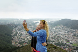 Disney Cruise Line Guests Visiting Mount Fløien Lookout Point in Norway