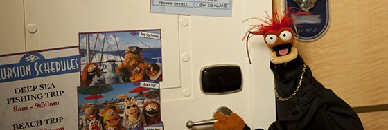 "Pepe the King Prawn and a cast of Muppets make their debut on the Disney Fantasy in ""The Case of the Stolen Show,"" a new Midship Detective Agency game. In the game, guests help the Muppets find their missing props for a big performance. Guided by a map and a unique game card, guests take an interactive adventure quest around the ship, uncovering clues via more than a dozen pieces of Enchanted Art and physical ""evidence,"" such as Pepe the King Prawn's Muppet-sized stateroom door."