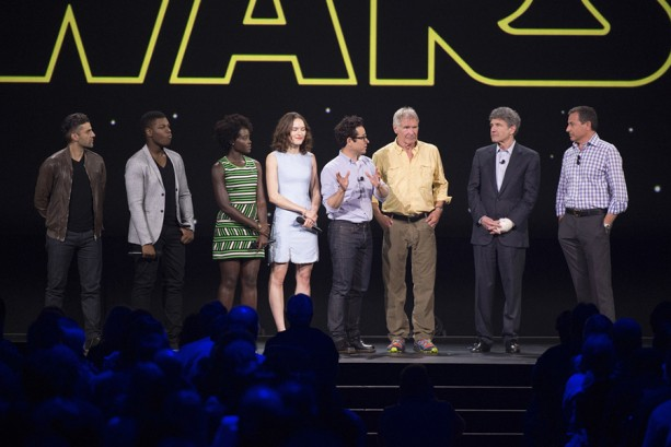 OSCAR ISAAC, JOHN BOYEGA, LUPITA NYONG'O, DAISY RIDLEY, J.J. ABRAMS, HARRISON FORD, ALAN HORN (Chairman, The Walt Disney Studios), ROBERT A. IGER (Chairman and Chief Executive Officer, The Walt Disney Company)