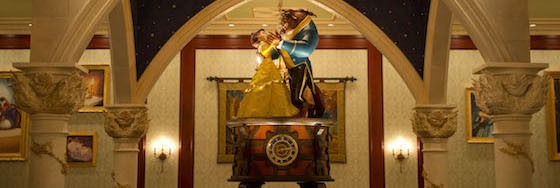 Featuring a large music box centerpiece nearly 7 feet tall with Belle and the Beast slowly twirling atop, the Rose Gallery is one of three dining rooms at Be Our Guest Restaurant. Adorned with rose accents, paintings and tapestries, the Rose Gallery features French-inspired cuisine for quick-service lunch. Part of New Fantasyland, Be Our Guest Restaurant will  grand open Dec. 6, 2012 at Walt Disney World Resort in Lake Buena Vista, Fla. (David Roark, photographer)
