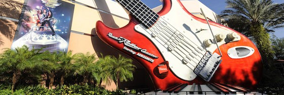 "ROCK ON!:  A 40-foot-tall electric guitar, giant keyboard and a larger-than-life painting of the legendary rock group Aerosmith adorn the exterior of the ""Rock 'n' Roller Coaster Starring Aerosmith.""  The thrill attraction is an indoor roller coaster at Disney's Hollywood Studios theme park at Walt Disney World Resort in Lake Buena Vista, Fla.  Inside, riders board a limousine-themed roller coaster car and are launched from 0-60 mph in 2.8 seconds -- all while listening to a custom-recorded soundtrack by the legendary rock group Aerosmith. (Gene Duncan, photographer)"