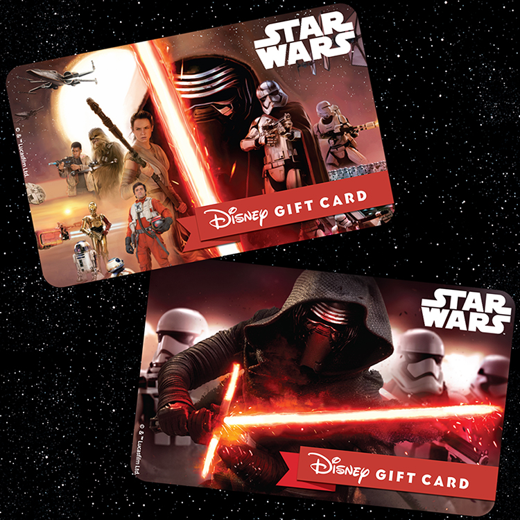 Main Street Memories Star Wars The Force Awakens Two Star Wars Themed Disney Gift Card