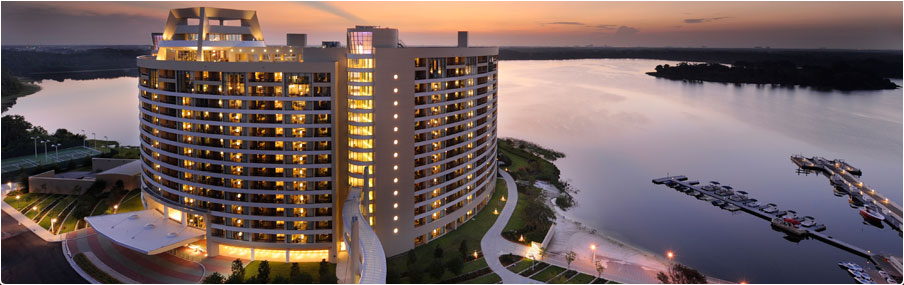 Bird's-eye view of Bay Lake Tower at Disney's Contemporary Resort at sunset