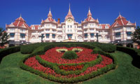 The Mickey Mouse shaped flower garden decorating Disneyland Paris