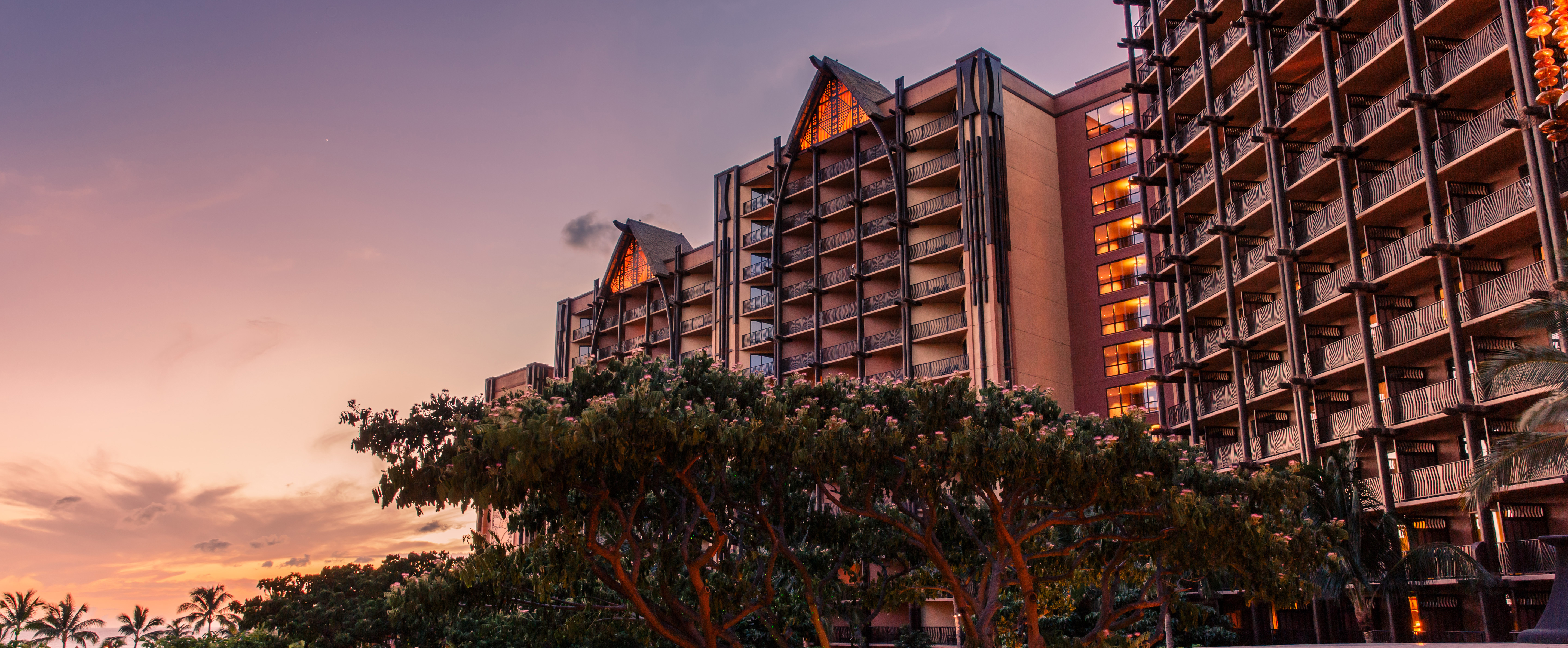 The Resort exterior at sunset
